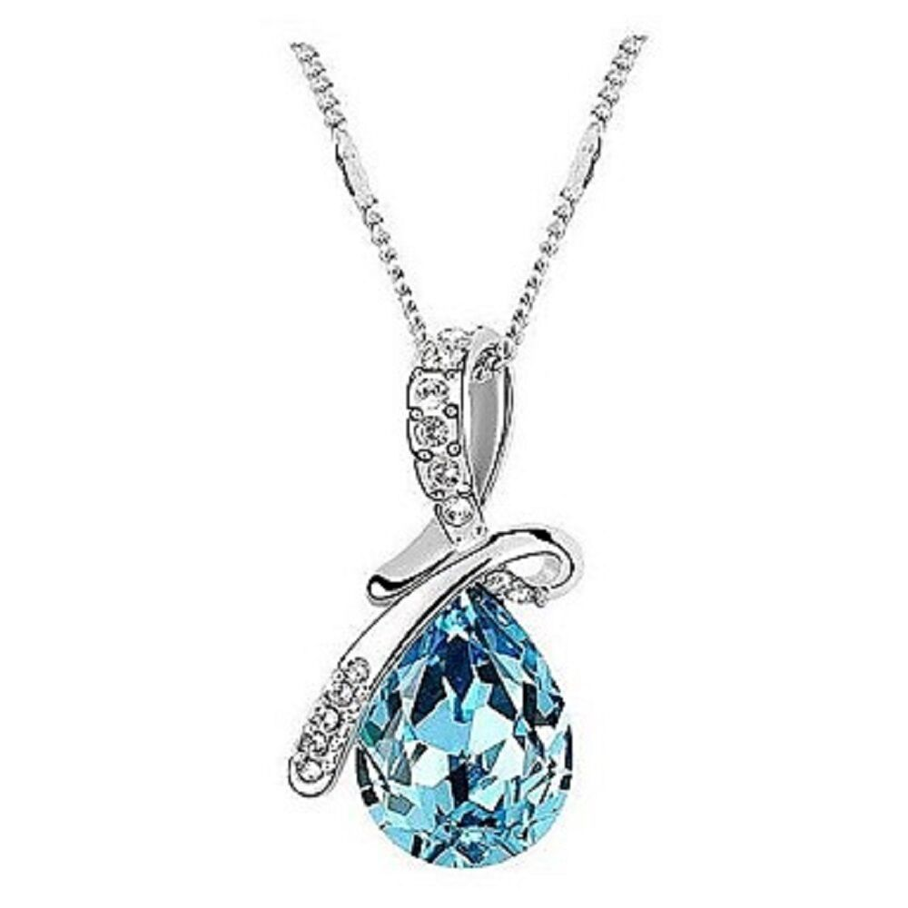 Women Pendant Necklace Crystal Drop Rhinestone Platinum Plated Alloy - 1x Random