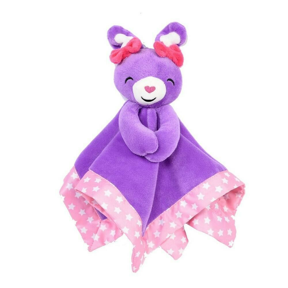 New Fisher Price Plush Purple Bunny Rabbit Security Blanket Lovey Pink Stars NWT - $17.59