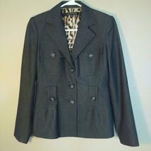 Anne Klein Womens Size 4 Gray Three Button Blazer Jacket - $44.55