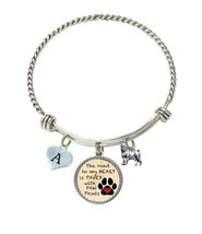 Custom Dog Pug Road to My Heart Paw Print Silver Wire Bracelet Choose Initial - $16.73