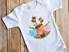 Noah's Ark Theme Baby Shower Present - Personalized Baby Bodysuit - $20.26