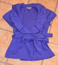 ANN TAYLOR DEEP VIOLET PURPLE WRAP TIE BLOUSE RUFFLED NECK TOP SLEEVELES... - $18.00