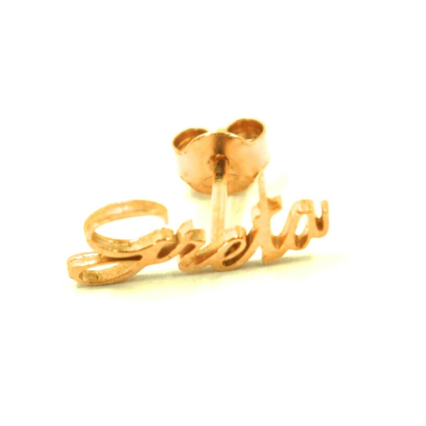 925 STERLING SILVER YELLOW EARRINGS, WRITTEN NAME GRETA, MADE IN ITALY