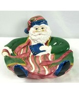 Vintage Christmas Ceramic Santa  Cookie Plate Serving Dish Handpainted NEW  - $19.80