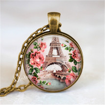 EIFFEL TOWER Necklace, Paris, France, Pink Roses, Shabby, French, Eiffel... - $12.95