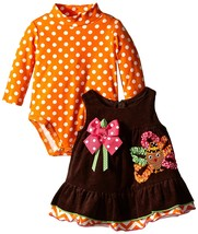 Bonnie Jean Baby Girls 3M-9M Brown/Orange Bonaz Turkey Corduroy Jumper Dress