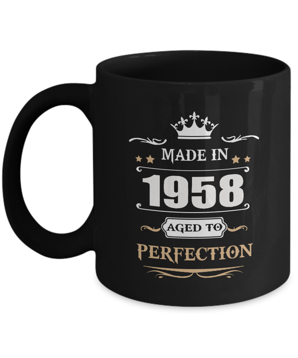 Amazing Birthday Tea Coffee Mug - Made In 1958 Aged To Perfection - Best Sarcast