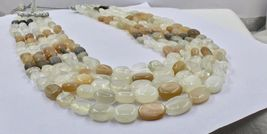 NATURAL MULTI MOONSTONE BEADS CABOCHON 5 LINE 950 CTS GEMSTONE LADIES NECKLACE image 7
