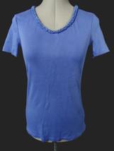 TALBOTS Ruffled V-neck T-shirt XS Medium Blue short sleeve Dressy top CareerWear - $5.93