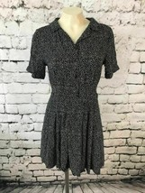 Forever 21 Womens Sz L Dress Polka Dot Button Front Cuffed Short Sleeve Collar - $18.80