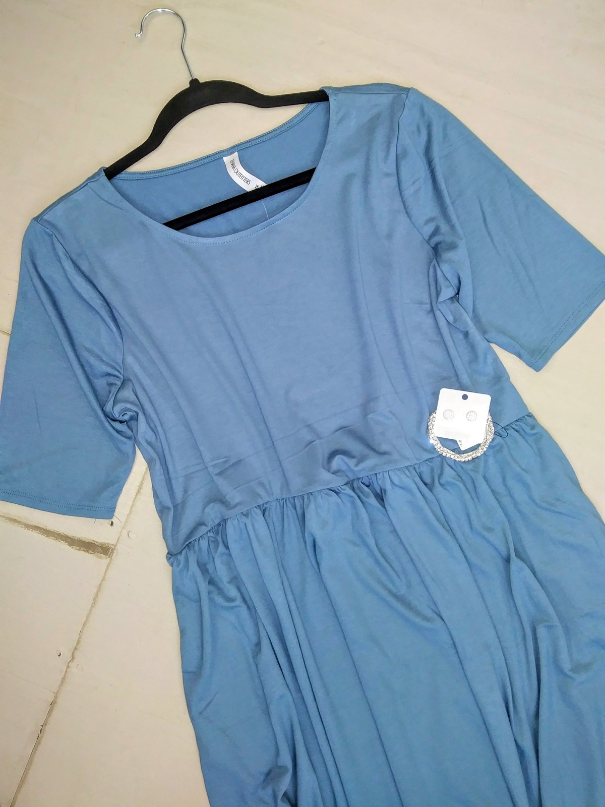 Plus Midi Dress, Blue Fit and Flare Dress, Dress with Pockets, Colbert Clothing