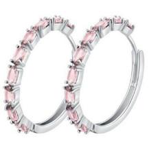 14k White Gold Filled Light Pink Topaz Hoop Earrings [EAR-264] - $14.96