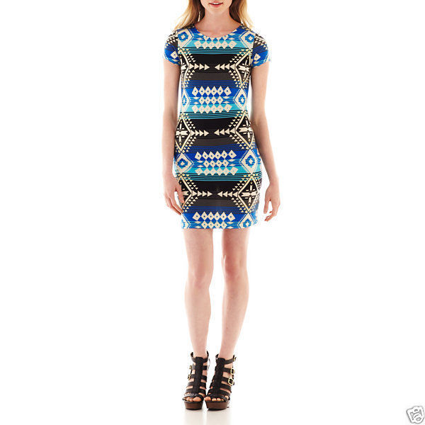 Primary image for Bailey Girl Bailey Blue Cap-sleeve Aztec Print Cobalt T-shirt Dress Size M