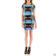 Bailey Girl Bailey Blue Cap-sleeve Aztec Print Cobalt T-shirt Dress Size M - $14.99