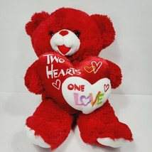Valentines Day Teddy Bear Red Plush Stuffed Animal 2010 Two Hearts One L... - $21.77
