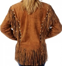 Ladies STUDS BONES BEADS Soft BROWN Premium SUEDE Leather WESTERN FRINGE... - $194.99+