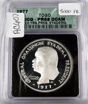 1977 Togo 10yr Pres. Eyadema 1oz Fine Silver ICG PR68 DCAM GREEN Holder ... - $367.48