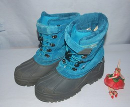 Land's End Winter Boots Insulated Snow Boots Suede Aqua Size Youth 5M - $34.60