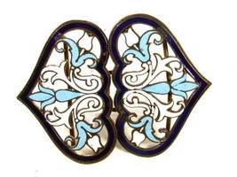 Ladies Art Nouveau Champleve Enameled Blue Tulips Belt Buckle Unbranded ... - $94.04