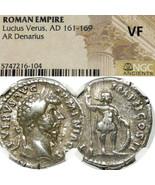 LUCIUS VERUS / MARS. Marcus Aurelius NGC VF Ancient Roman Silver Denariu... - $355.50