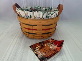 Longaberger 1998 Small Round Basket Combo Botanical Fields Liner & Prote... - $26.17