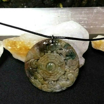 "Necklace, Yin-Yang Symbol W/ Dragon Hand Carved Natural Jasper Women Men ""B"" image 1"