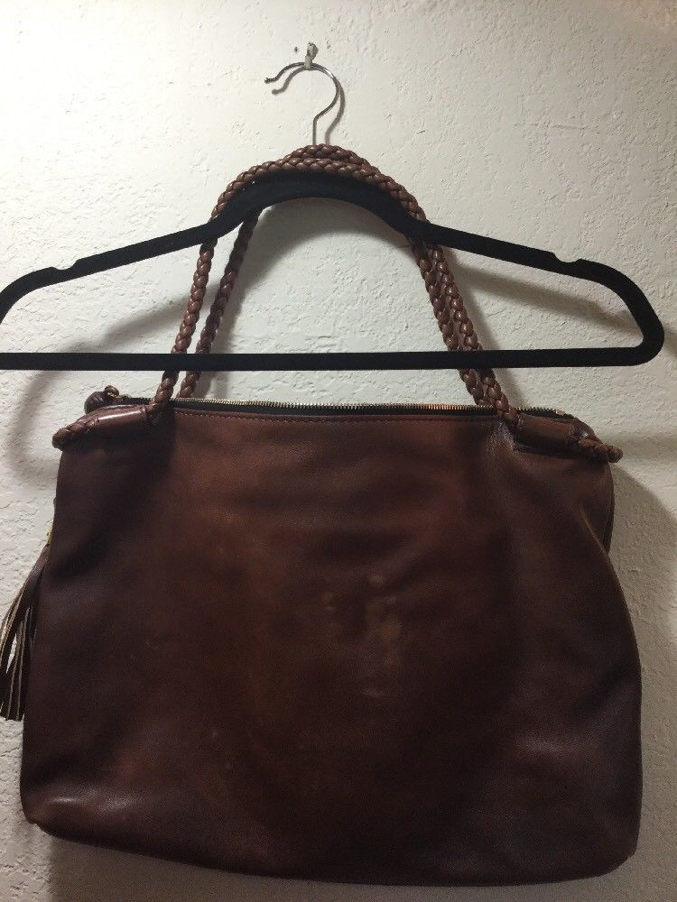 001e9bde070 GUCCI GENUINE LEATHER BAMBOO TASSEL TOTE BAG HAND BAG PURSE BROWN - Free  Ship.