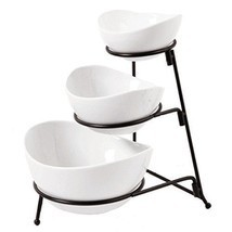 Ceramic 3 Tier Serving Bowls - Oval Serving Bowl With Stand - £21.69 GBP