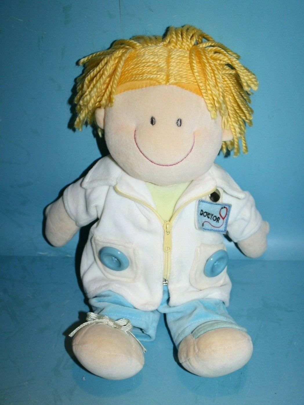 "Primary image for Russ Berrie DOC Baby Doll 15"" Doctor Plush Soft Toy Teach Button Zip Tie 24084"