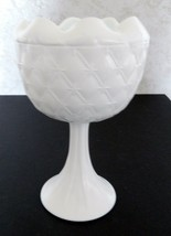 Indiana Glass Duette Pattern Footed Crimped Vase Pedestal Quilted Milk G... - $14.80