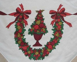 Large Vintage Printed Cotton Christmas Tablecloth Fruit Topiary Bows Bal... - $22.43