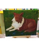 Painting Of A  Collie With Flowers - $24.75