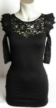 Forever 21 Womens Lace 3/4 Sleeve Dress Back Zip Black Size S Small - $18.55