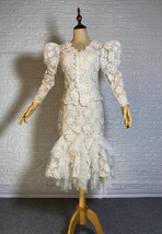 Vintage Style White Lace Dress Outfit Sleeve Mermaid Lace Bridal Wedding Outfit image 1