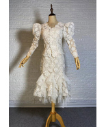 Vintage Style White Lace Dress Outfit Sleeve Mermaid Lace Bridal Wedding... - $265.00