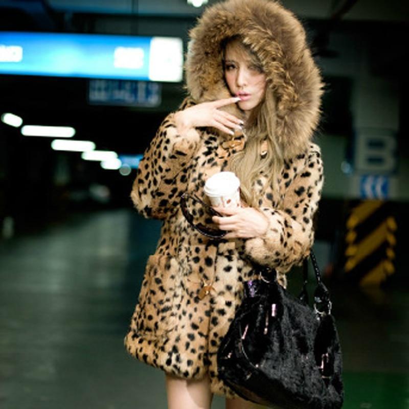 Adorin 2020 fashion streetwear warm fur hooded leopard faux fur coat long sleeve fluffy fake fur