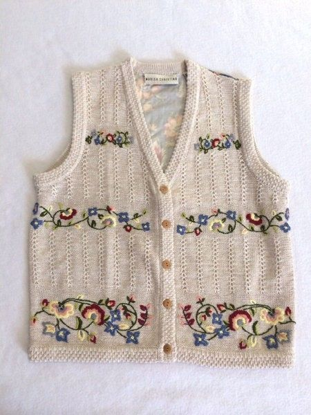 Marisa Christina S M Blue Floral Fabric Back Tan Oatmeal Sweater Vest
