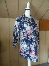 Charter Club Women's Floral Print Tabbed Sleeves Cotton Shirt, Blue, Size 16 - $8.86