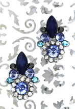 Women new navy sky blue diamante deco cluster stud pierced earrings - $23.08 CAD