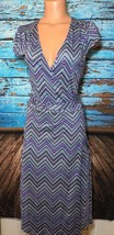 Old Navy Wrap Dress Purple Blue Zig Zag Chevron S Small - $13.30