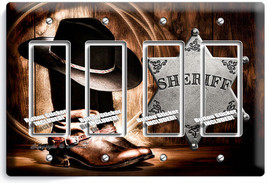 Country Cowboy Boots Hat Lasso Sheriff Star 4 Gang Gfci Light Switch Plate Decor - $19.79