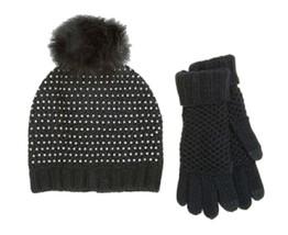 Steve Madden Studded PomPom Hat + Gloves Women's Black Shimmering Textur... - $24.74