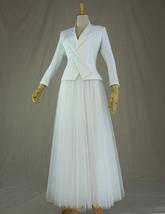 WHITE Tulle Midi Skirt A Line High Waisted Tulle Skirt Wedding Skirt image 8