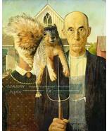 American Gothic Squirrel Photo Bomb Surreal Art, Funny Art Print, Home D... - $15.88+