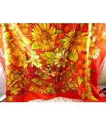 Pavlov Posad Russian 32x34 Red Silk hand print Sunflowers Shawl Scarf Wrap  - $74.25