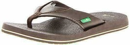 NEW Sanuk Men's Brown Beer Cozy Thong Flip-Flop Beach Sandals Slippers 1174140