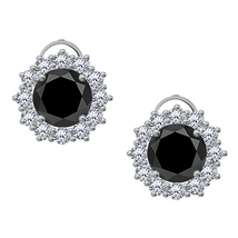 1.60 Ct Black Diamond 925 Silver Screw Back Halo Stud Earrings 18k White... - $47.72