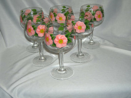 6 Vintage Franciscan China Desert Rose Wine Goblets England Signed NICE - $74.25
