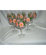 6 Vintage Franciscan China Desert Rose Wine Goblets England Signed NICE - $74.25