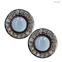 Aquamarine Gemstone 14k Gold Studded 1.3ct Diamond Stud Earrings 925 Sil... - $219.73